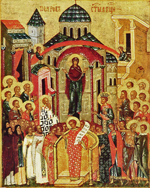 icon of the Protection of the the Mother of God, the Theotokos, with saints